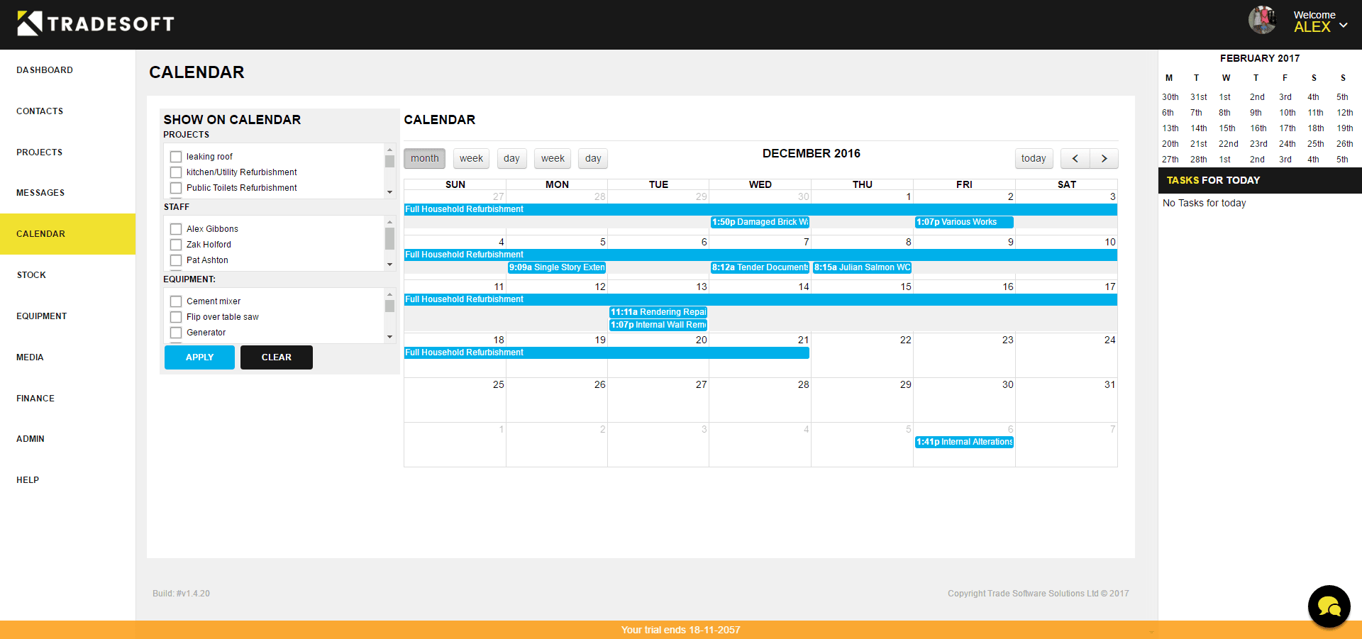 Tradesoft Calendar Screenshot