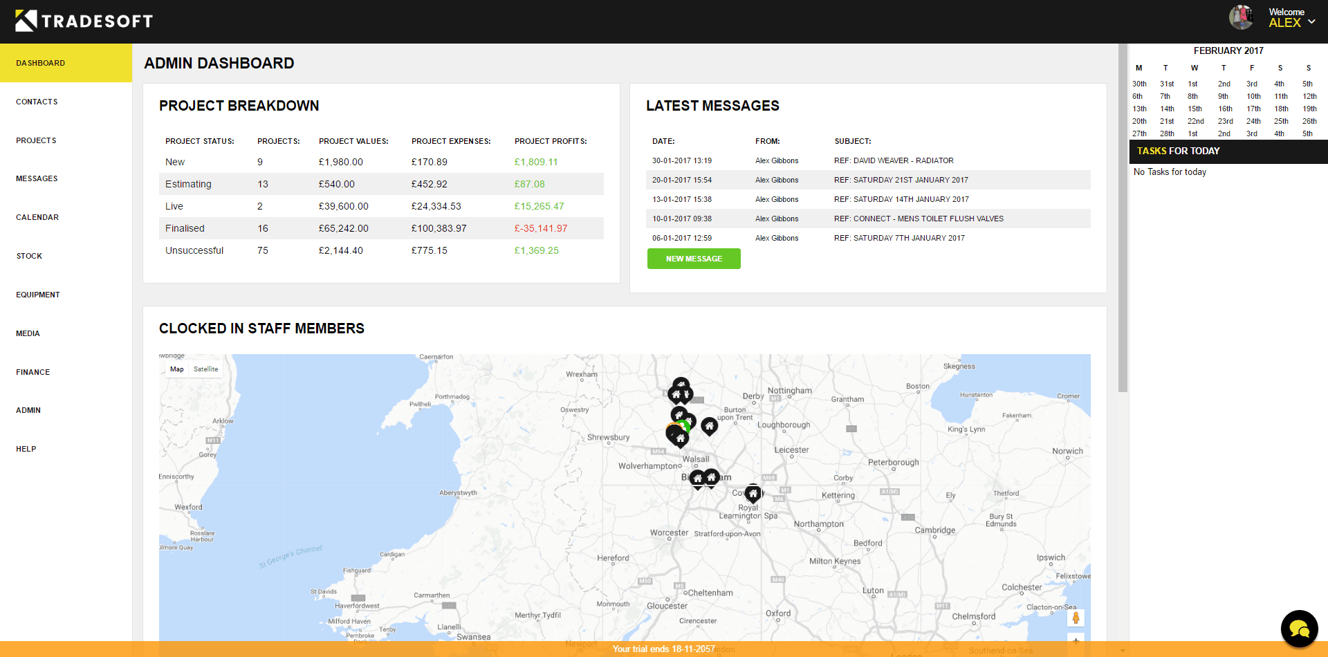 Tradesoft Admin Dashboard Screenshot