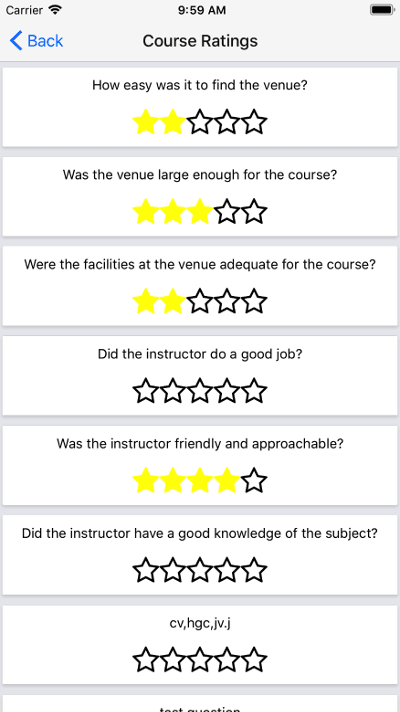 Course Ratings Screenshot